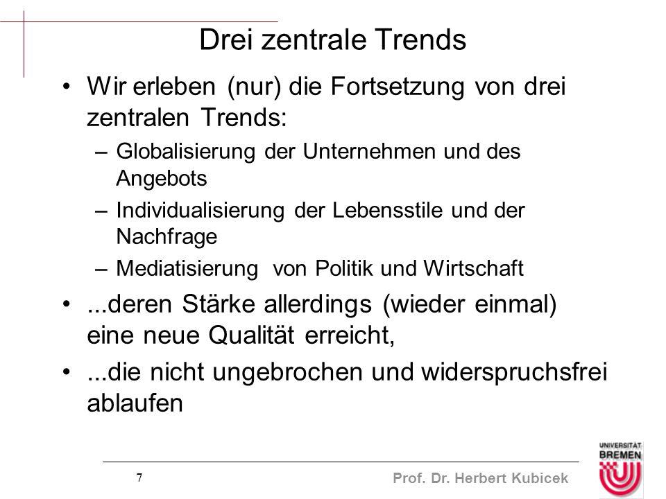 Prof. Dr. Herbert Kubicek 7 Drei zentrale Trends Wir erleben (nur) die Fortsetzung von drei zentralen Trends: –Globalisierung der Unternehmen und des