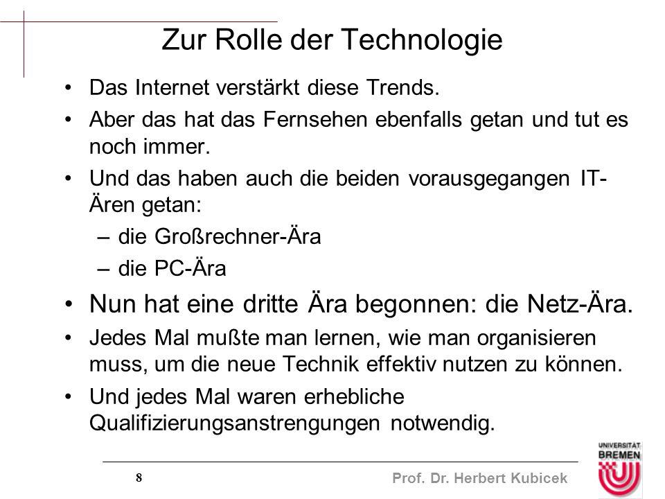 Prof. Dr. Herbert Kubicek 8 Zur Rolle der Technologie Das Internet verstärkt diese Trends. Aber das hat das Fernsehen ebenfalls getan und tut es noch