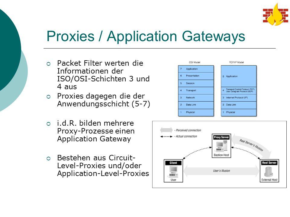 Proxies / Application Gateways  Packet Filter werten die Informationen der ISO/OSI-Schichten 3 und 4 aus  Proxies dagegen die der Anwendungsschicht