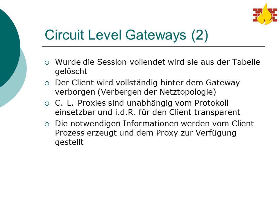 Circuit Level Gateways (2)  Wurde die Session vollendet wird sie aus der Tabelle gelöscht  Der Client wird vollständig hinter dem Gateway verborgen