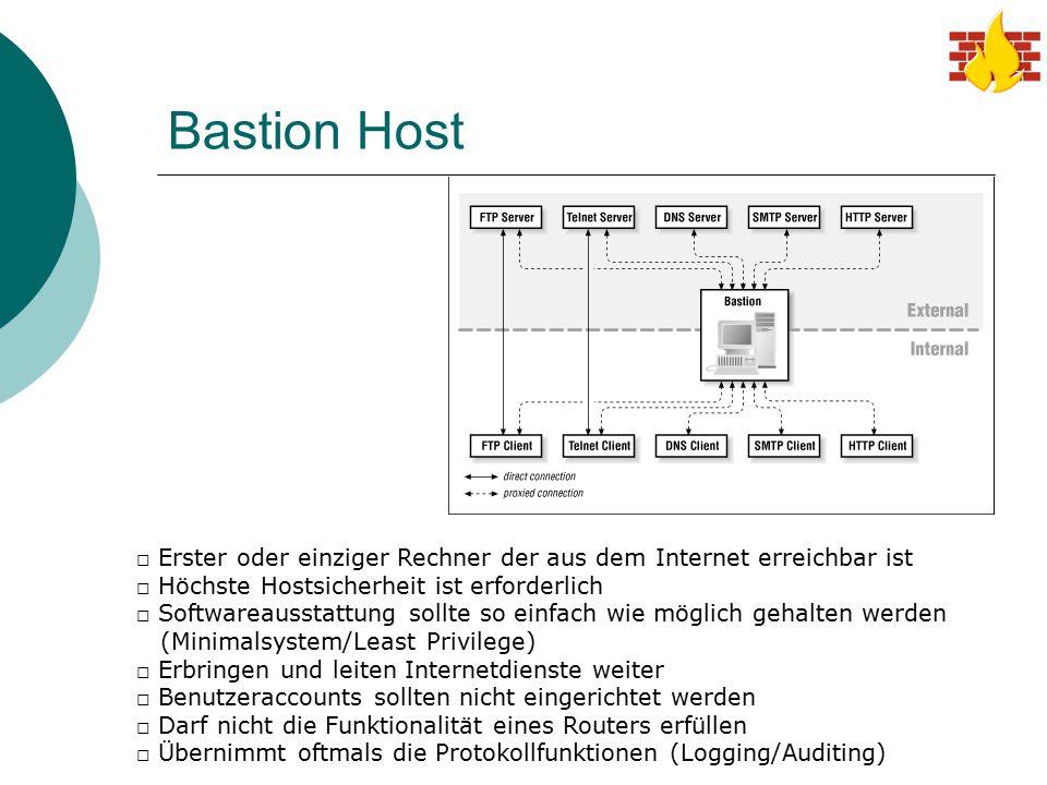 Bastion Host □ Erster oder einziger Rechner der aus dem Internet erreichbar ist □ Höchste Hostsicherheit ist erforderlich □ Softwareausstattung sollte