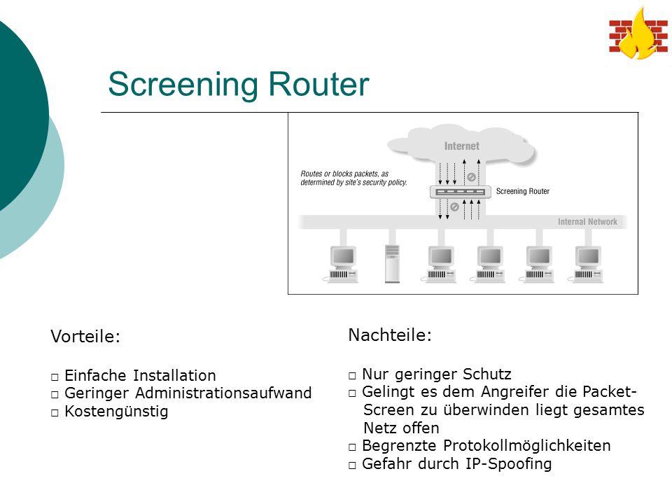 Screening Router Vorteile: □ Einfache Installation □ Geringer Administrationsaufwand □ Kostengünstig Nachteile: □ Nur geringer Schutz □ Gelingt es dem