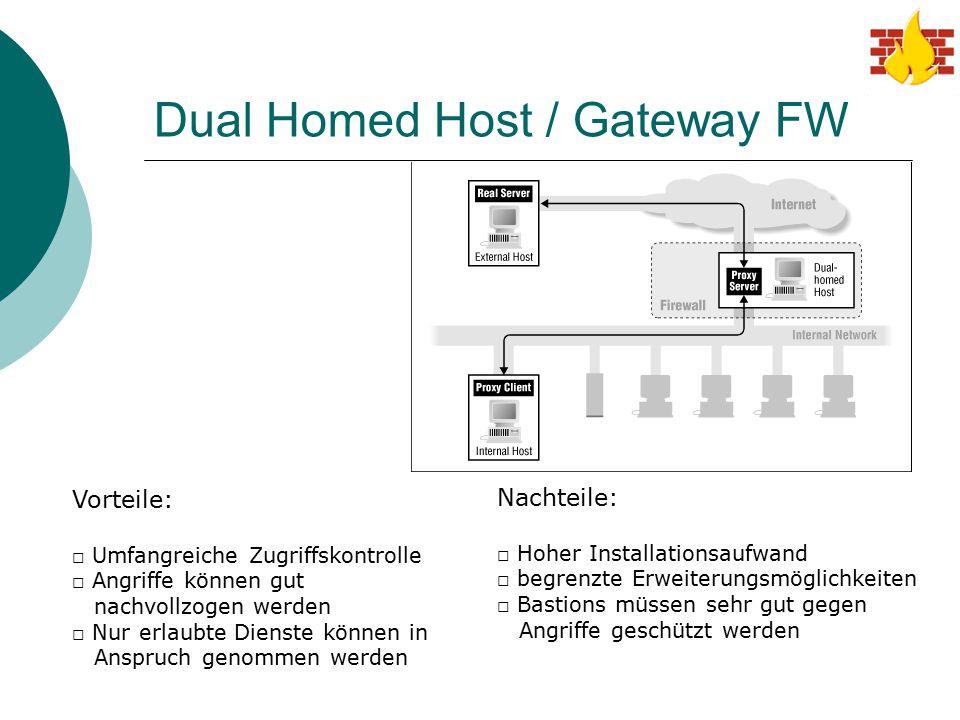 Dual Homed Host / Gateway FW Vorteile: □ Umfangreiche Zugriffskontrolle □ Angriffe können gut nachvollzogen werden □ Nur erlaubte Dienste können in An