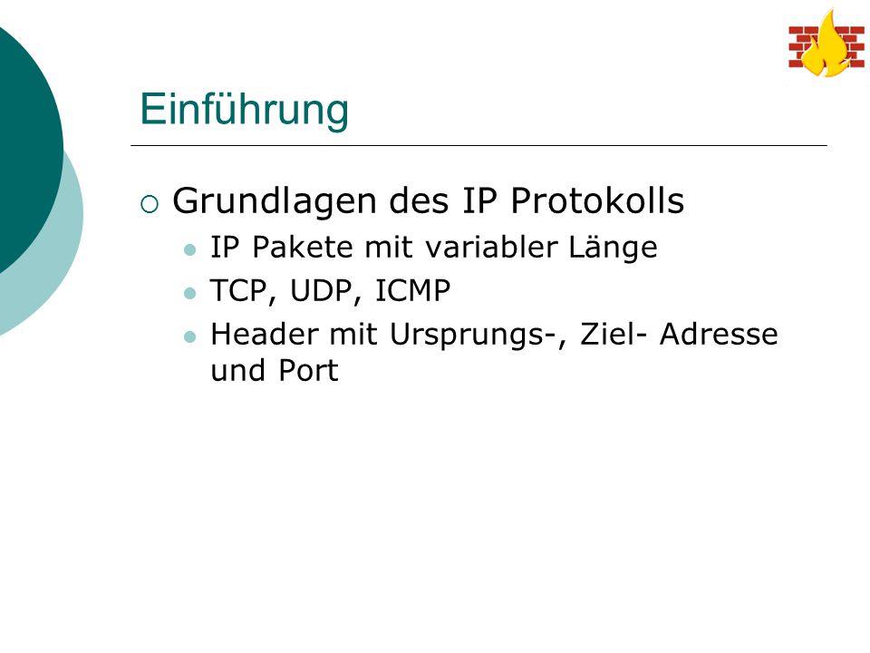 Einführung  Grundlagen des IP Protokolls IP Pakete mit variabler Länge TCP, UDP, ICMP Header mit Ursprungs-, Ziel- Adresse und Port