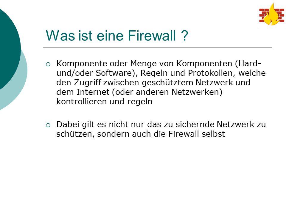 Was ist eine Firewall ?  Komponente oder Menge von Komponenten (Hard- und/oder Software), Regeln und Protokollen, welche den Zugriff zwischen geschüt