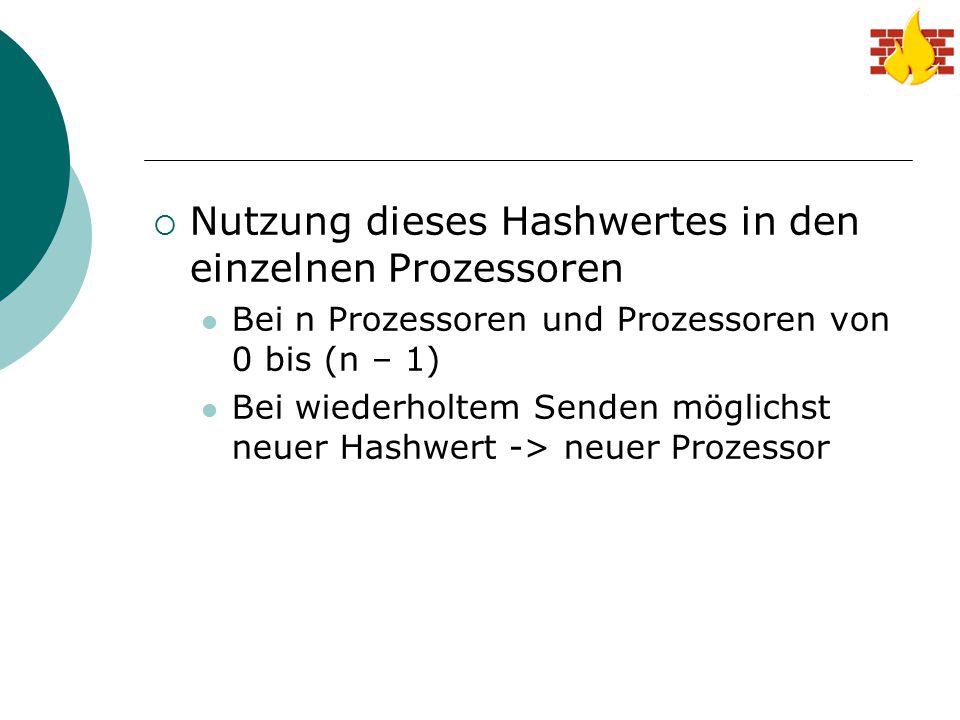  Nutzung dieses Hashwertes in den einzelnen Prozessoren Bei n Prozessoren und Prozessoren von 0 bis (n – 1) Bei wiederholtem Senden möglichst neuer H