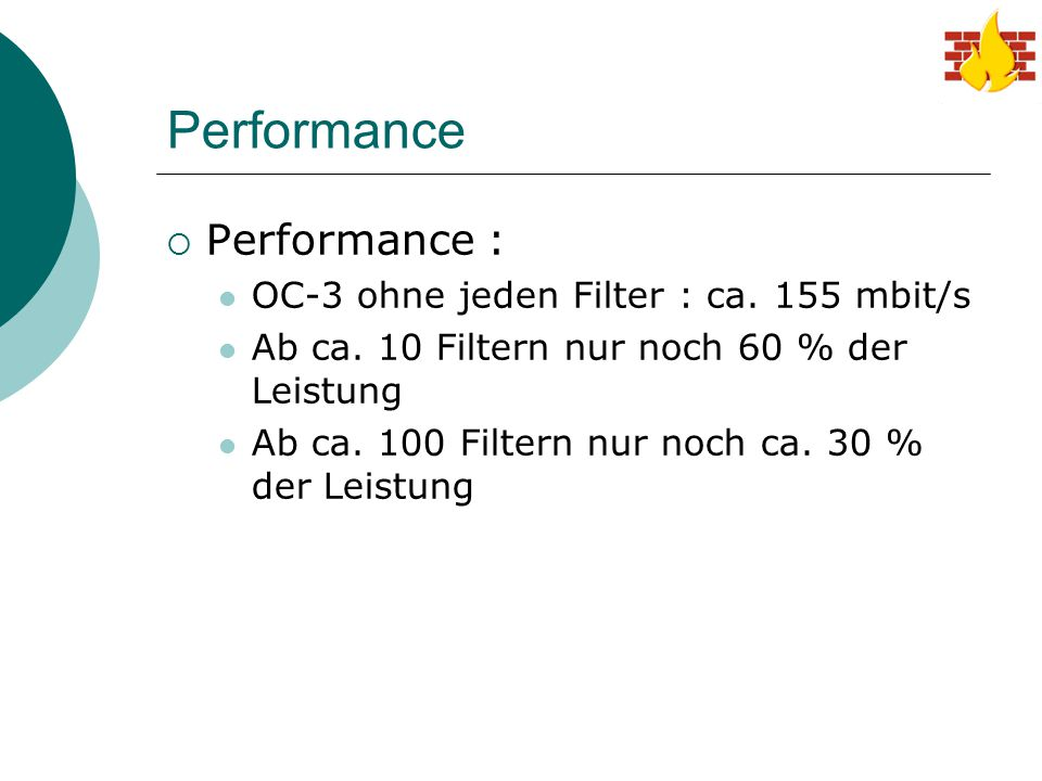 Performance  Performance : OC-3 ohne jeden Filter : ca.