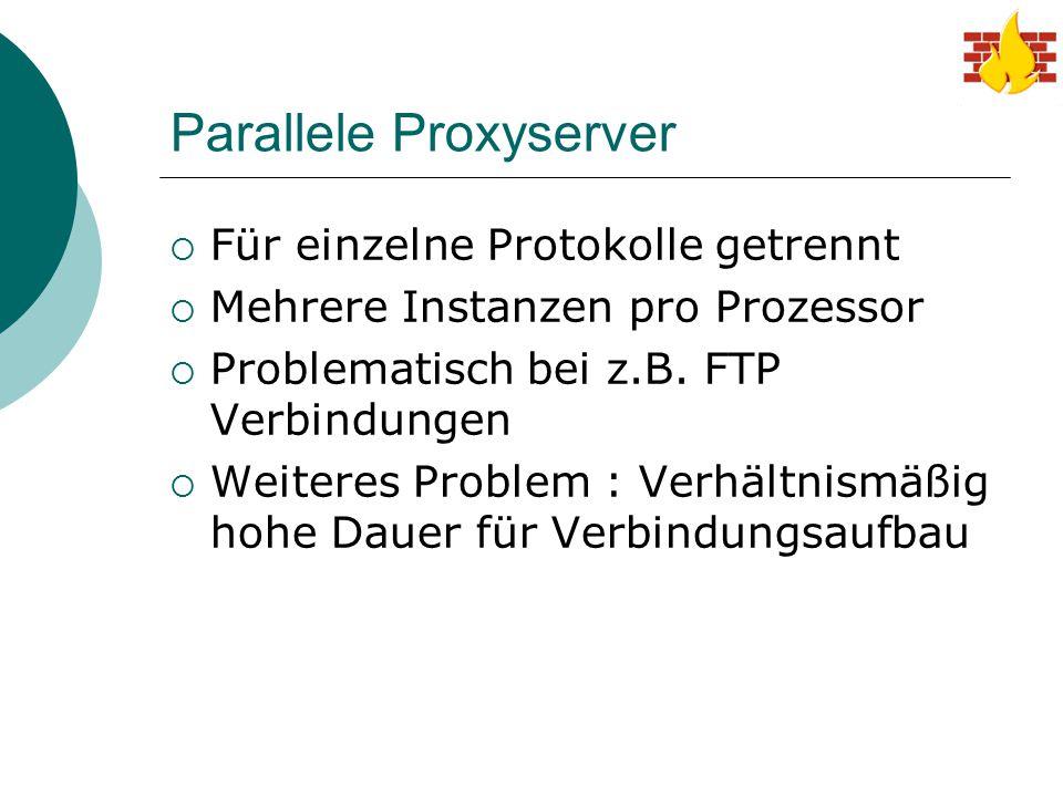 Parallele Proxyserver  Für einzelne Protokolle getrennt  Mehrere Instanzen pro Prozessor  Problematisch bei z.B. FTP Verbindungen  Weiteres Proble