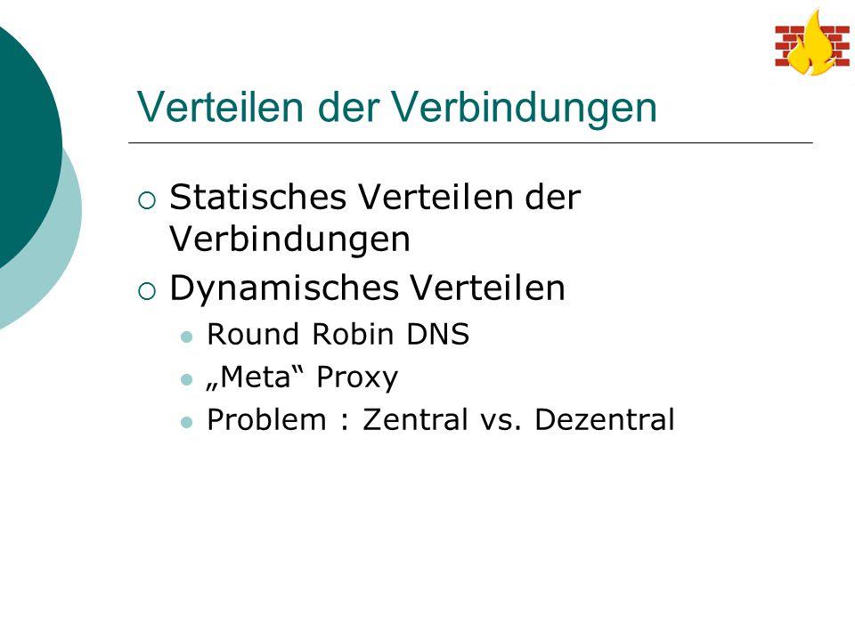 """Verteilen der Verbindungen  Statisches Verteilen der Verbindungen  Dynamisches Verteilen Round Robin DNS """"Meta"""" Proxy Problem : Zentral vs. Dezentra"""