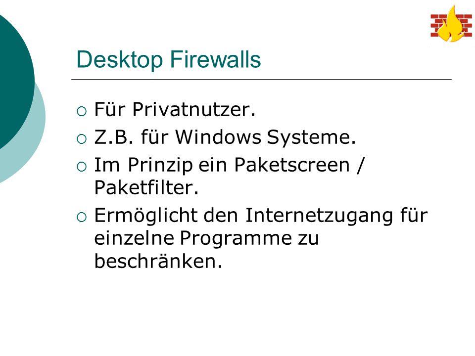 Desktop Firewalls  Für Privatnutzer.  Z.B. für Windows Systeme.  Im Prinzip ein Paketscreen / Paketfilter.  Ermöglicht den Internetzugang für einz
