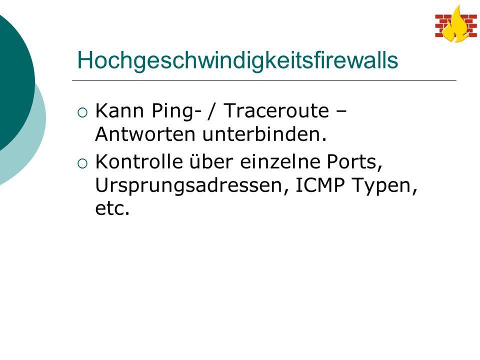 Hochgeschwindigkeitsfirewalls  Kann Ping- / Traceroute – Antworten unterbinden.  Kontrolle über einzelne Ports, Ursprungsadressen, ICMP Typen, etc.