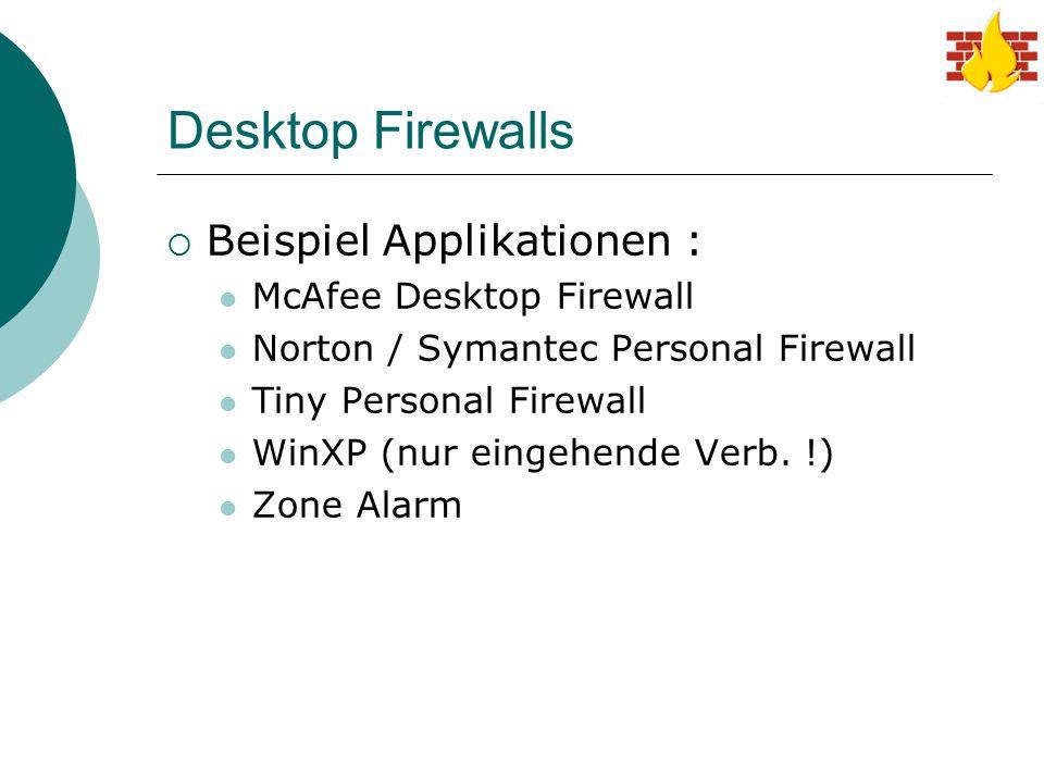 Desktop Firewalls  Beispiel Applikationen : McAfee Desktop Firewall Norton / Symantec Personal Firewall Tiny Personal Firewall WinXP (nur eingehende