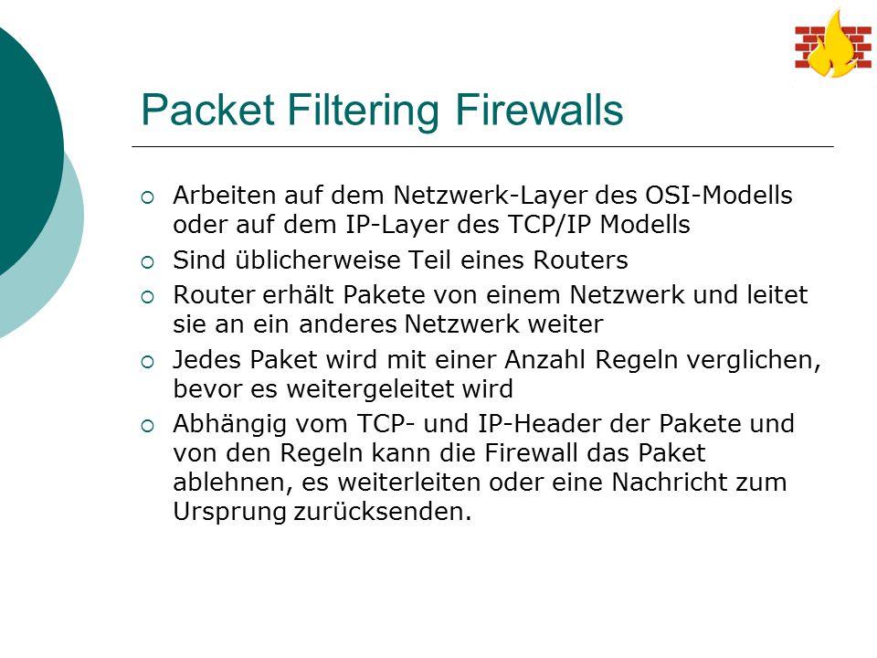 Packet Filtering Firewalls  Arbeiten auf dem Netzwerk-Layer des OSI-Modells oder auf dem IP-Layer des TCP/IP Modells  Sind üblicherweise Teil eines