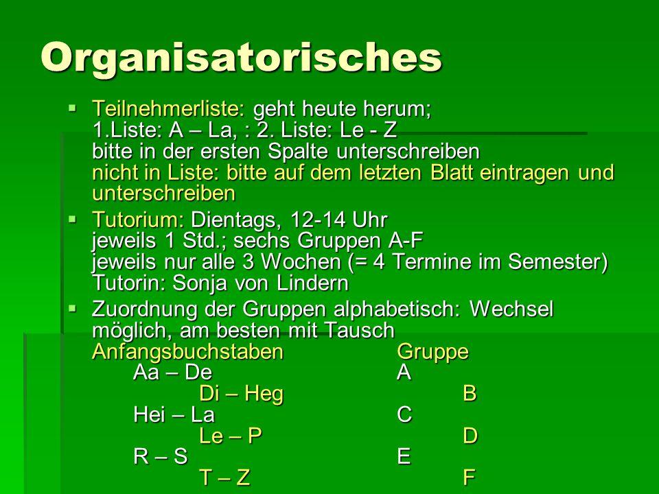 Organisatorisches  Teilnehmerliste: geht heute herum; 1.Liste: A – La, : 2.