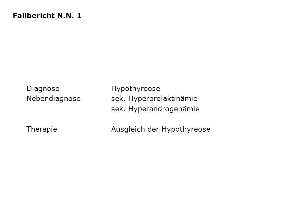 DiagnoseHypothyreose Nebendiagnosesek. Hyperprolaktinämie sek. Hyperandrogenämie TherapieAusgleich der Hypothyreose Fallbericht N.N. 1