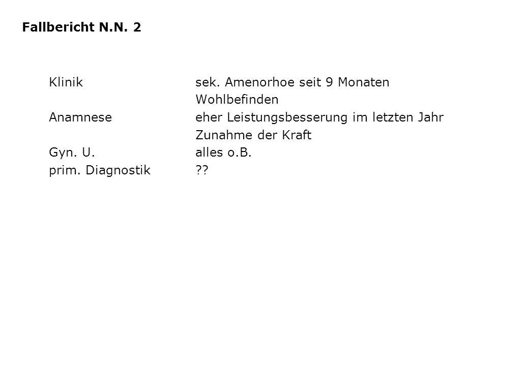 Kliniksek. Amenorhoe seit 9 Monaten Wohlbefinden Anamneseeher Leistungsbesserung im letzten Jahr Zunahme der Kraft Gyn. U.alles o.B. prim. Diagnostik?