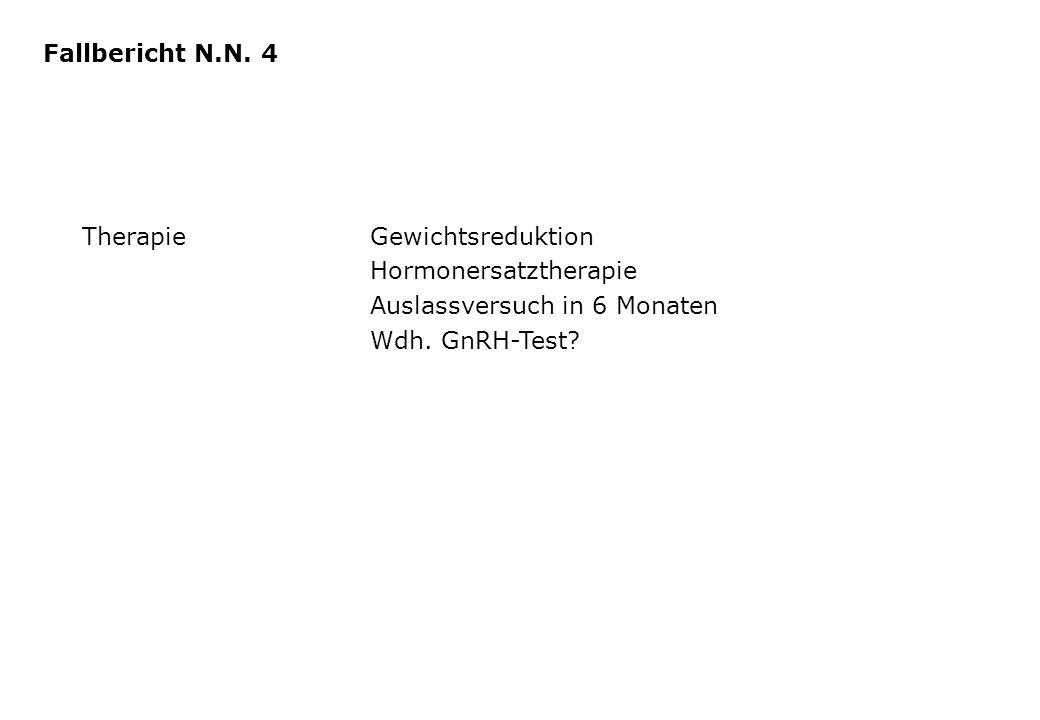 TherapieGewichtsreduktion Hormonersatztherapie Auslassversuch in 6 Monaten Wdh. GnRH-Test? Fallbericht N.N. 4