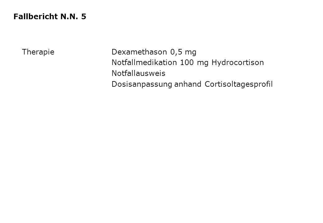 TherapieDexamethason 0,5 mg Notfallmedikation 100 mg Hydrocortison Notfallausweis Dosisanpassung anhand Cortisoltagesprofil Fallbericht N.N. 5
