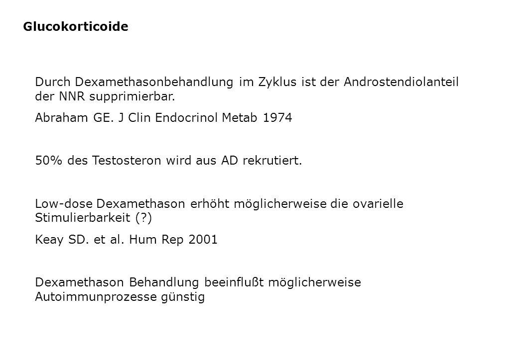 Glucokorticoide Durch Dexamethasonbehandlung im Zyklus ist der Androstendiolanteil der NNR supprimierbar. Abraham GE. J Clin Endocrinol Metab 1974 50%