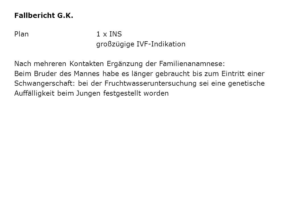 Fallbericht G.K. Plan1 x INS großzügige IVF-Indikation Nach mehreren Kontakten Ergänzung der Familienanamnese: Beim Bruder des Mannes habe es länger g