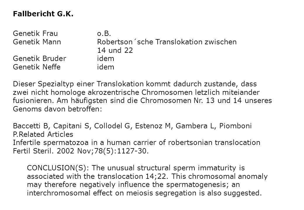 Fallbericht G.K. Genetik Frauo.B. Genetik MannRobertson´sche Translokation zwischen 14 und 22 Genetik Bruderidem Genetik Neffeidem Dieser Spezialtyp e