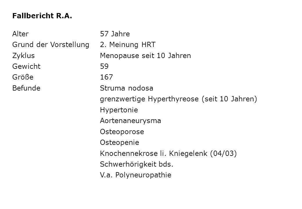 Fallbericht R.A. Alter57 Jahre Grund der Vorstellung2. Meinung HRT ZyklusMenopause seit 10 Jahren Gewicht59 Größe167 BefundeStruma nodosa grenzwertige