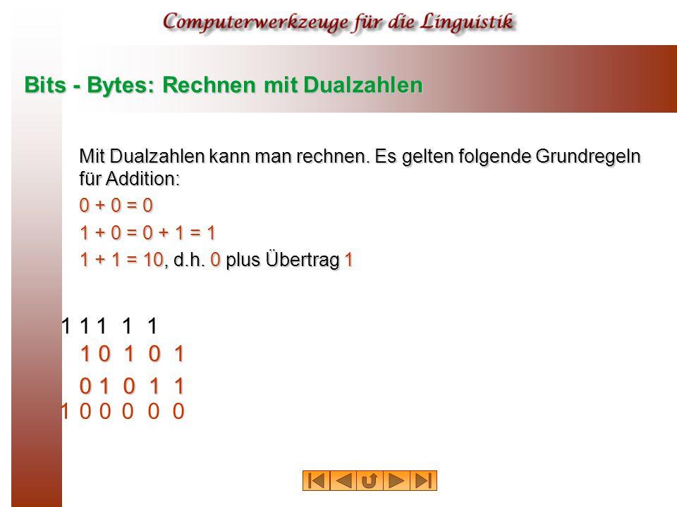 Bits - Bytes: Rechnen mit Dualzahlen Mit Dualzahlen kann man rechnen.