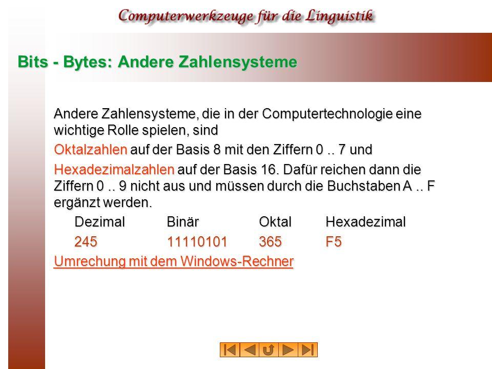 Bits - Bytes: Andere Zahlensysteme Andere Zahlensysteme, die in der Computertechnologie eine wichtige Rolle spielen, sind Oktalzahlen auf der Basis 8 mit den Ziffern 0..