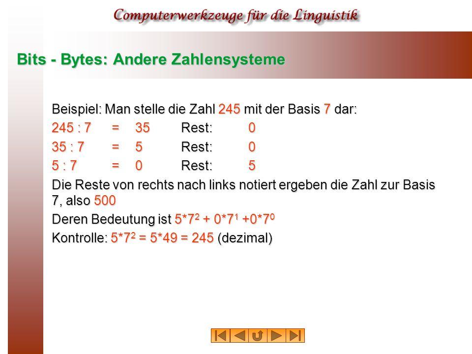 Bits - Bytes: Andere Zahlensysteme Beispiel: Man stelle die Zahl 245 mit der Basis 7 dar: 245 : 7 = 35Rest:0 35 : 7 = 5Rest:0 5 : 7 = 0Rest:5 Die Reste von rechts nach links notiert ergeben die Zahl zur Basis 7, also 500 Deren Bedeutung ist 5*7 2 + 0*7 1 +0*7 0 Kontrolle: 5*7 2 = 5*49 = 245 (dezimal)