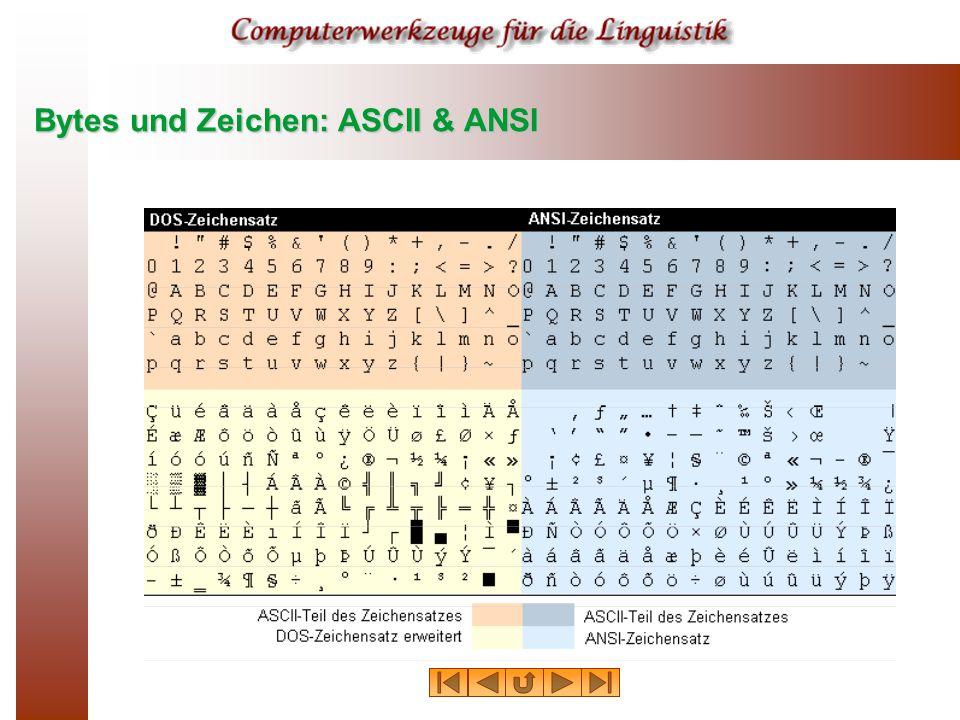 Bytes und Zeichen: ASCII & ANSI