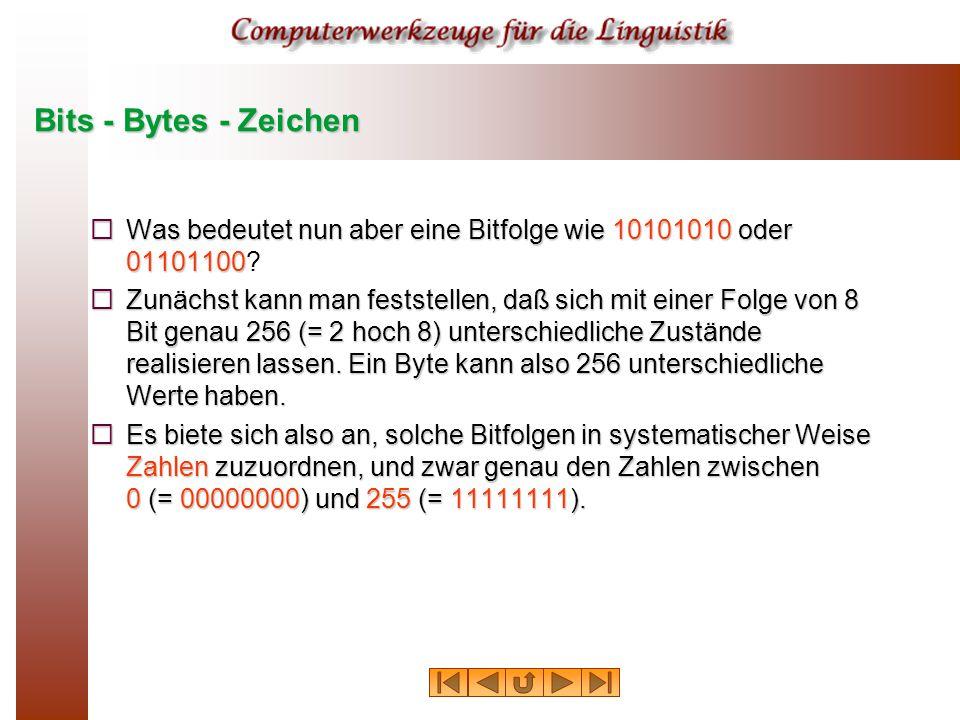 Bits - Bytes - Zeichen  Was bedeutet nun aber eine Bitfolge wie 10101010 oder 01101100  Was bedeutet nun aber eine Bitfolge wie 10101010 oder 01101100.