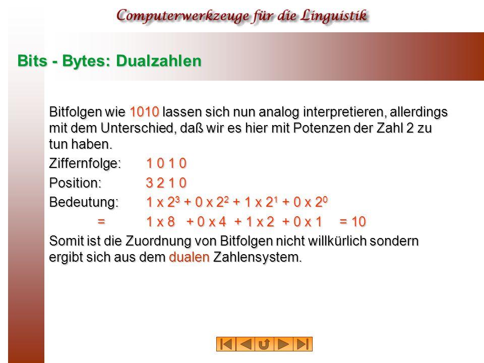 Bits - Bytes: Dualzahlen Bitfolgen wie 1010 lassen sich nun analog interpretieren, allerdings mit dem Unterschied, daß wir es hier mit Potenzen der Zahl 2 zu tun haben.