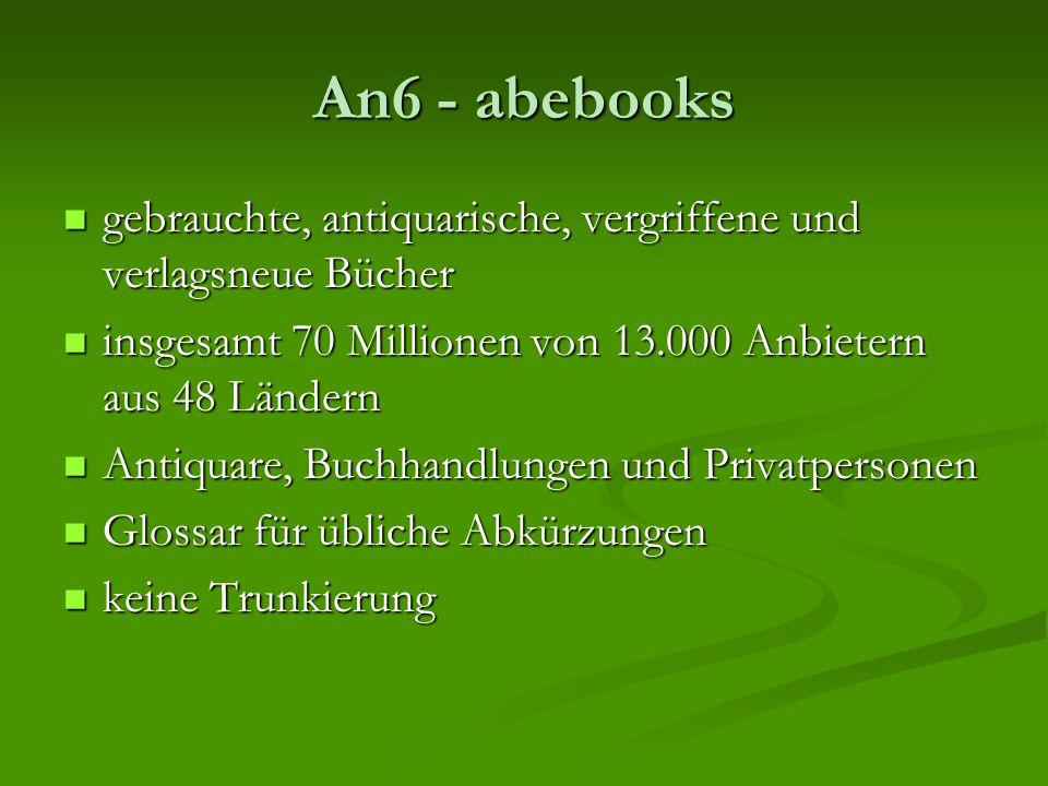 An6 - abebooks gebrauchte, antiquarische, vergriffene und verlagsneue Bücher gebrauchte, antiquarische, vergriffene und verlagsneue Bücher insgesamt 7