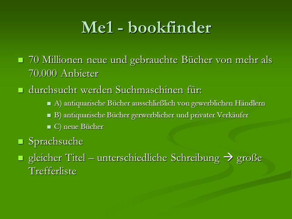 Me1 - bookfinder 70 Millionen neue und gebrauchte Bücher von mehr als 70.000 Anbieter 70 Millionen neue und gebrauchte Bücher von mehr als 70.000 Anbi