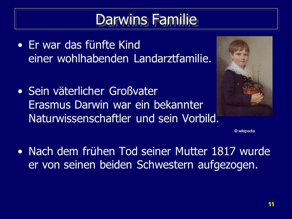 11 Darwins Familie Er war das fünfte Kind einer wohlhabenden Landarztfamilie.