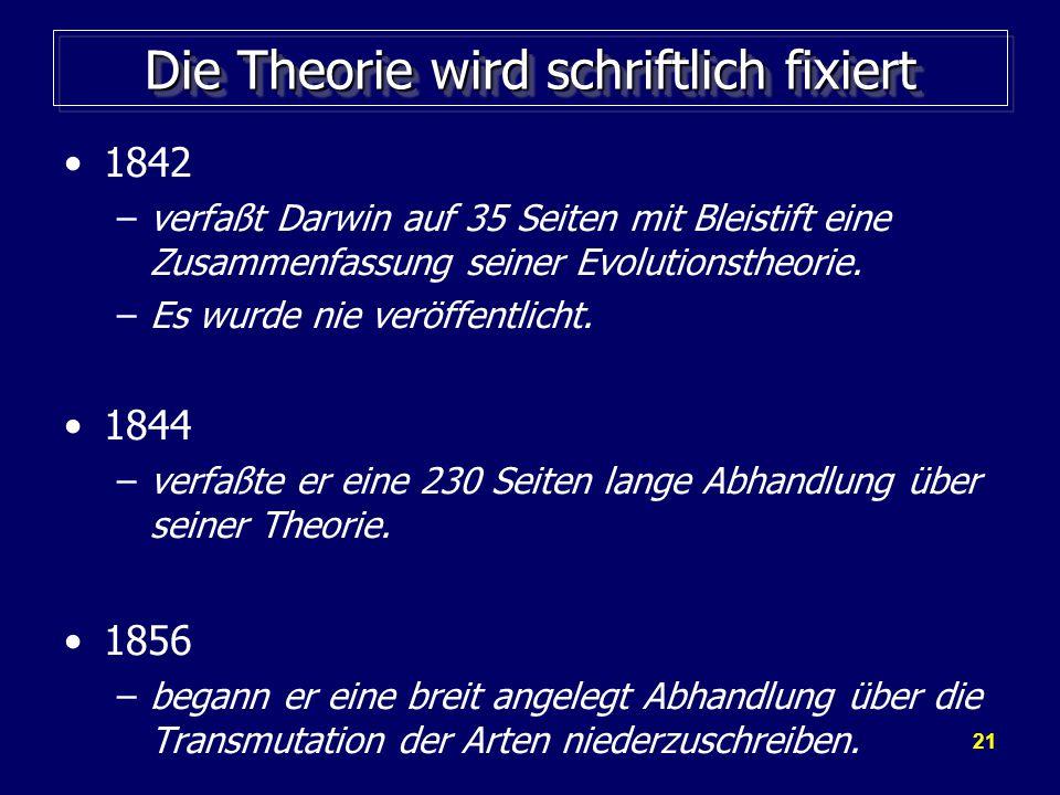 21 Die Theorie wird schriftlich fixiert 1842 –verfaßt Darwin auf 35 Seiten mit Bleistift eine Zusammenfassung seiner Evolutionstheorie.
