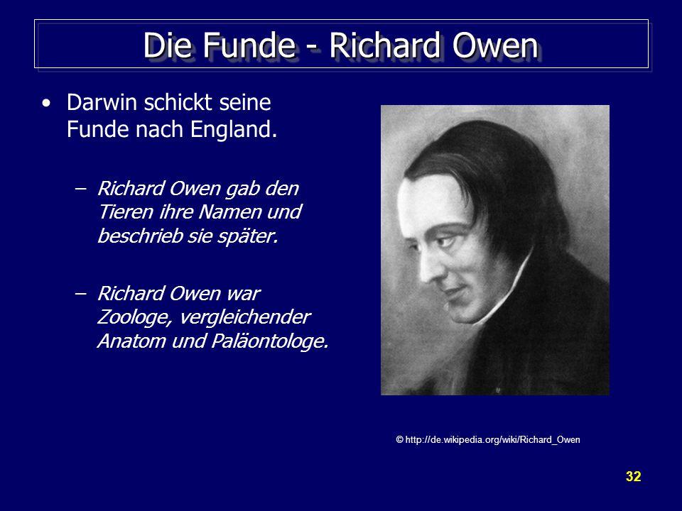 32 Die Funde - Richard Owen Darwin schickt seine Funde nach England.