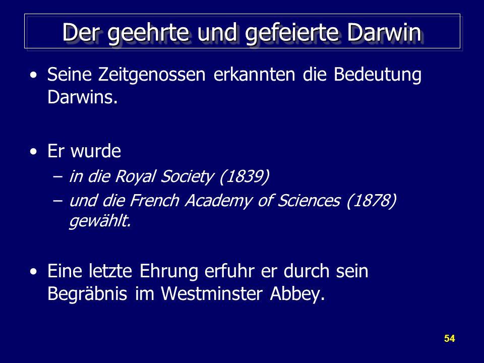 54 Der geehrte und gefeierte Darwin Seine Zeitgenossen erkannten die Bedeutung Darwins.