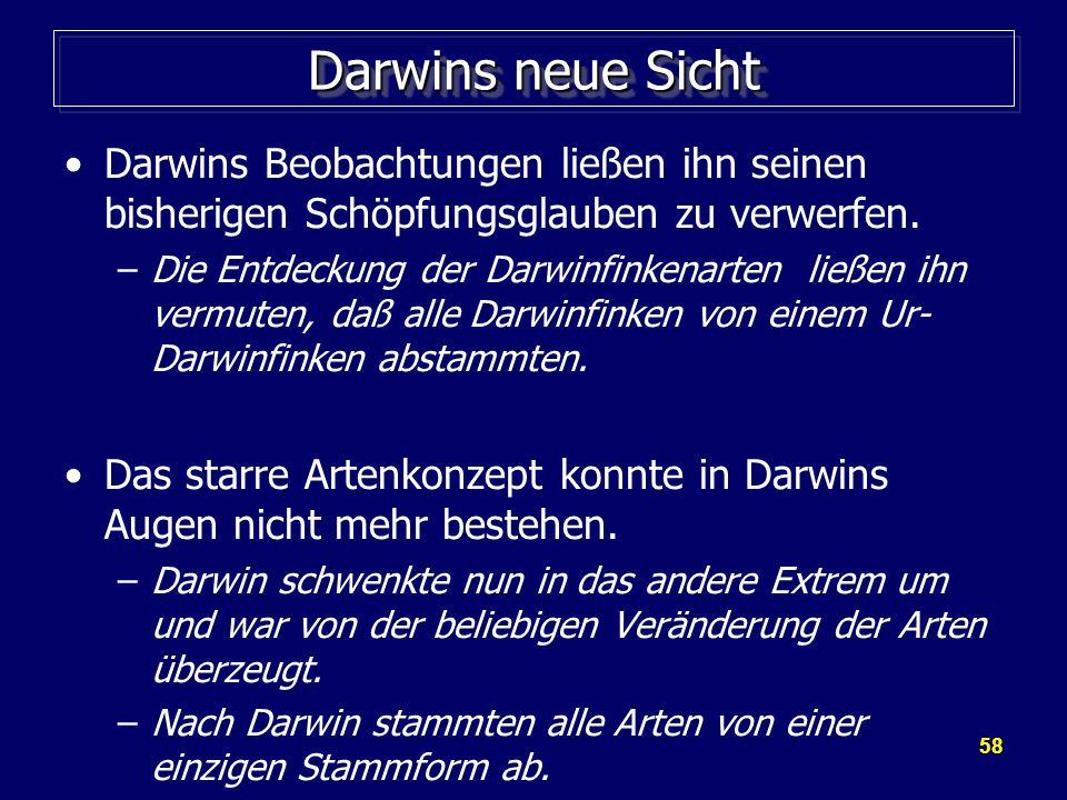 58 Darwins neue Sicht Darwins Beobachtungen ließen ihn seinen bisherigen Schöpfungsglauben zu verwerfen.