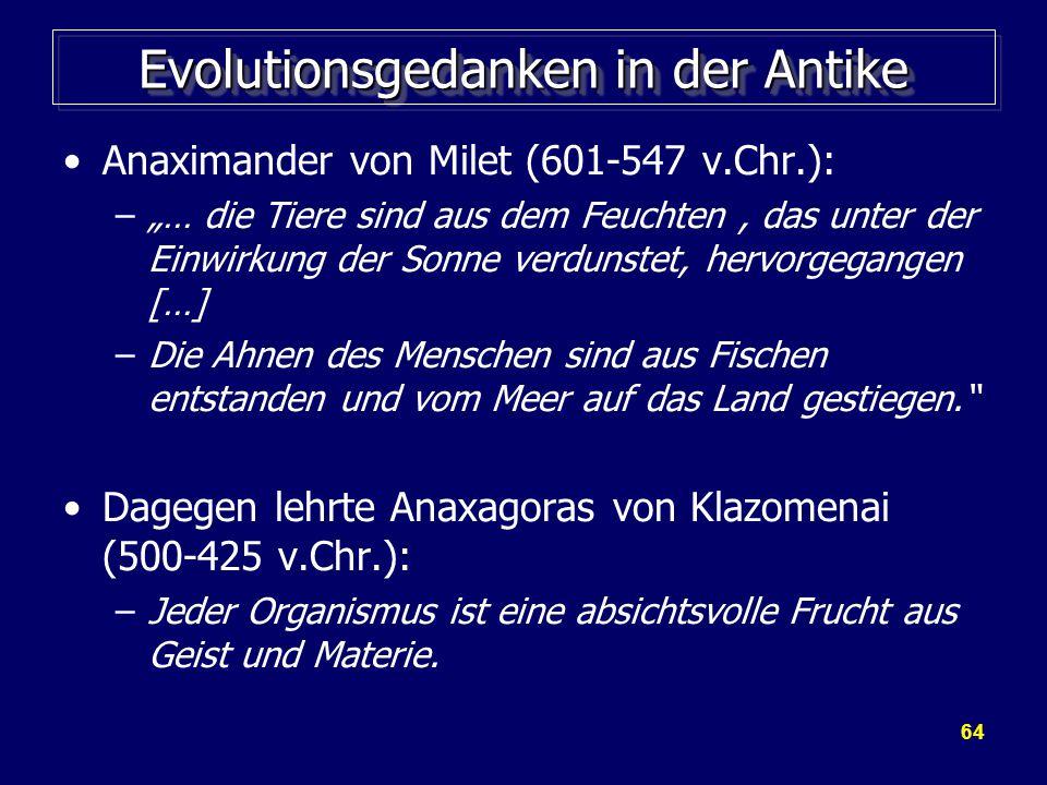 """64 Evolutionsgedanken in der Antike Anaximander von Milet (601-547 v.Chr.): –""""… die Tiere sind aus dem Feuchten, das unter der Einwirkung der Sonne verdunstet, hervorgegangen […] –Die Ahnen des Menschen sind aus Fischen entstanden und vom Meer auf das Land gestiegen. Dagegen lehrte Anaxagoras von Klazomenai (500-425 v.Chr.): –Jeder Organismus ist eine absichtsvolle Frucht aus Geist und Materie."""