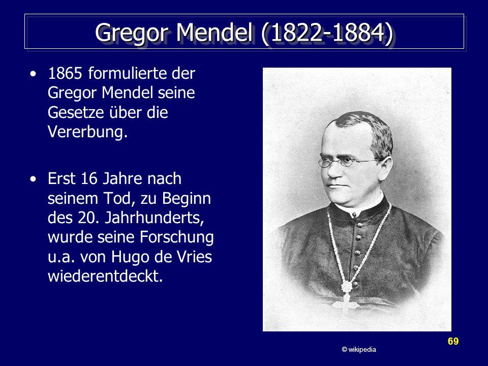 69 Gregor Mendel (1822-1884) 1865 formulierte der Gregor Mendel seine Gesetze über die Vererbung.