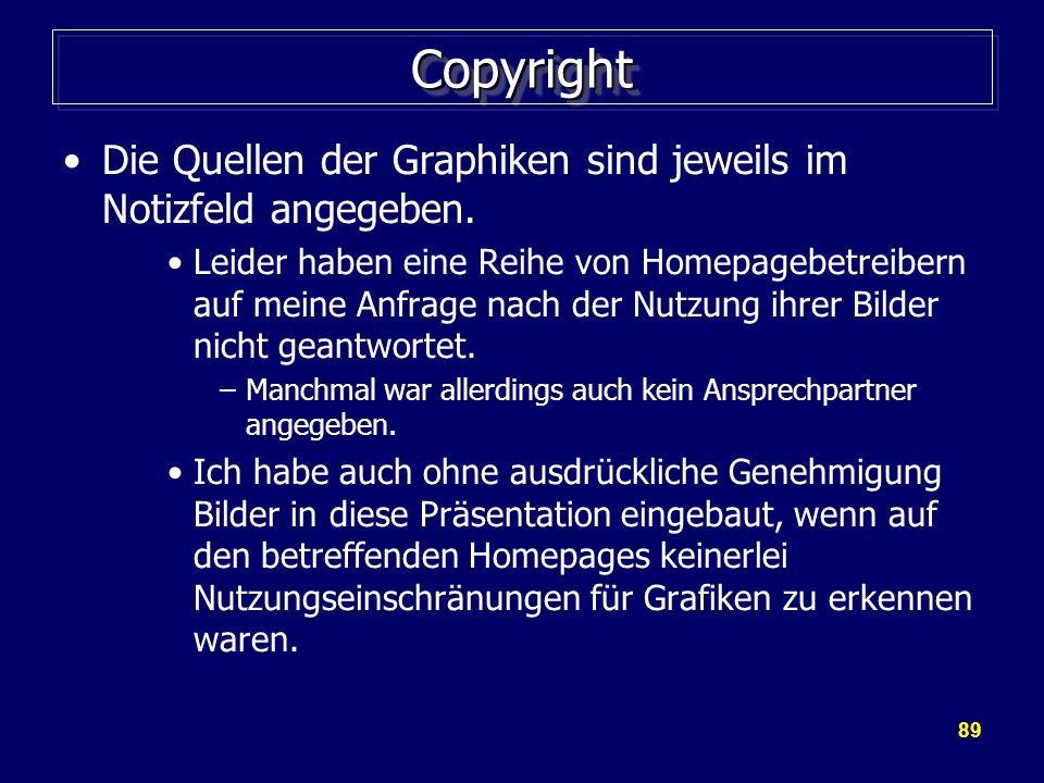 89 CopyrightCopyright Die Quellen der Graphiken sind jeweils im Notizfeld angegeben.