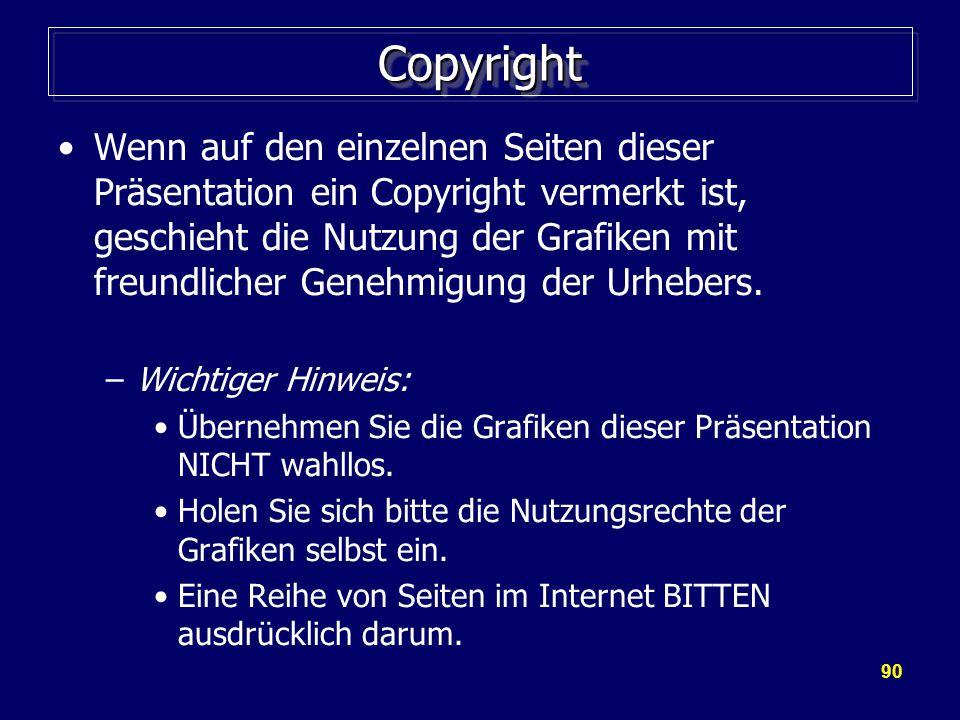 90 CopyrightCopyright Wenn auf den einzelnen Seiten dieser Präsentation ein Copyright vermerkt ist, geschieht die Nutzung der Grafiken mit freundlicher Genehmigung der Urhebers.