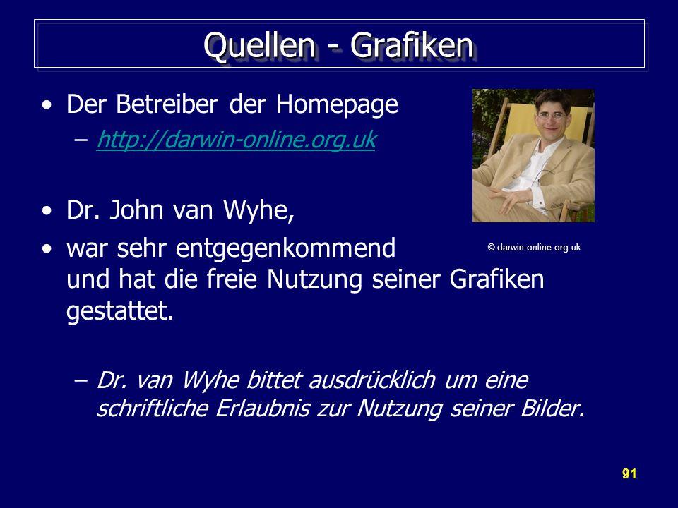 91 Quellen - Grafiken Der Betreiber der Homepage –http://darwin-online.org.ukhttp://darwin-online.org.uk Dr.