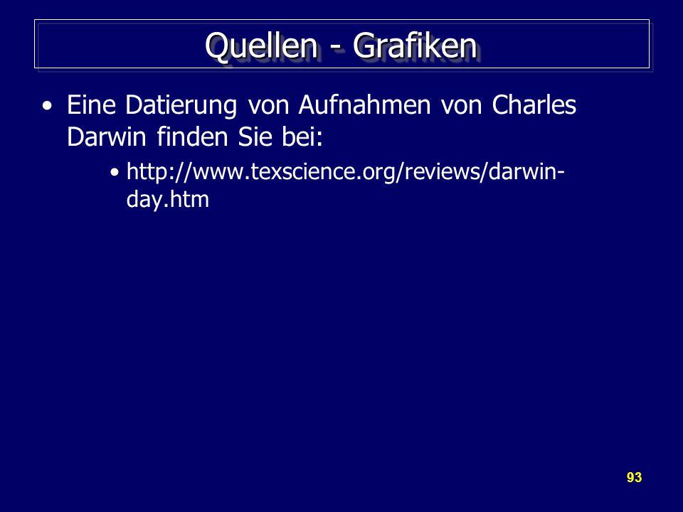 93 Quellen - Grafiken Eine Datierung von Aufnahmen von Charles Darwin finden Sie bei: http://www.texscience.org/reviews/darwin- day.htm