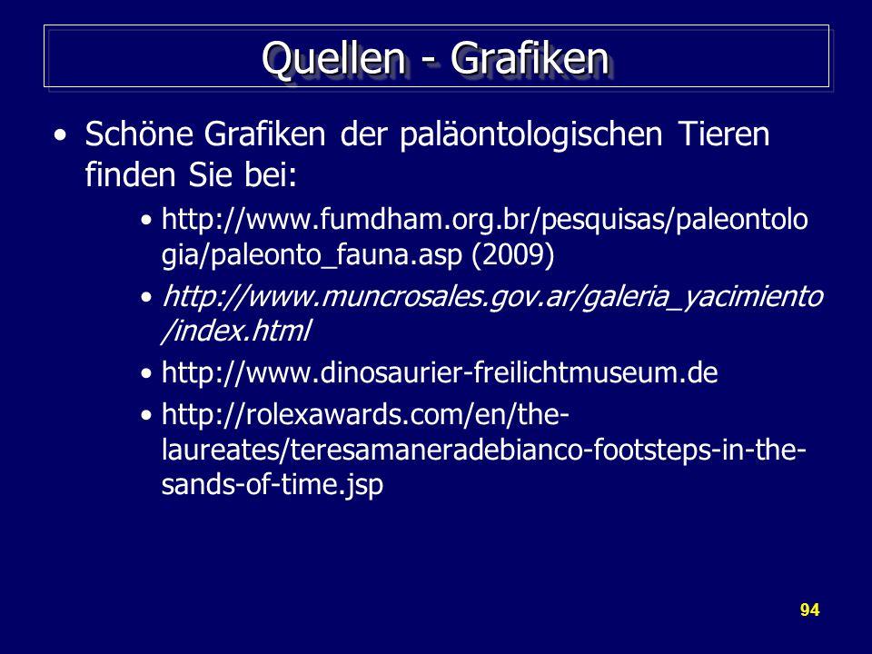 94 Quellen - Grafiken Schöne Grafiken der paläontologischen Tieren finden Sie bei: http://www.fumdham.org.br/pesquisas/paleontolo gia/paleonto_fauna.asp (2009) http://www.muncrosales.gov.ar/galeria_yacimiento /index.html http://www.dinosaurier-freilichtmuseum.de http://rolexawards.com/en/the- laureates/teresamaneradebianco-footsteps-in-the- sands-of-time.jsp