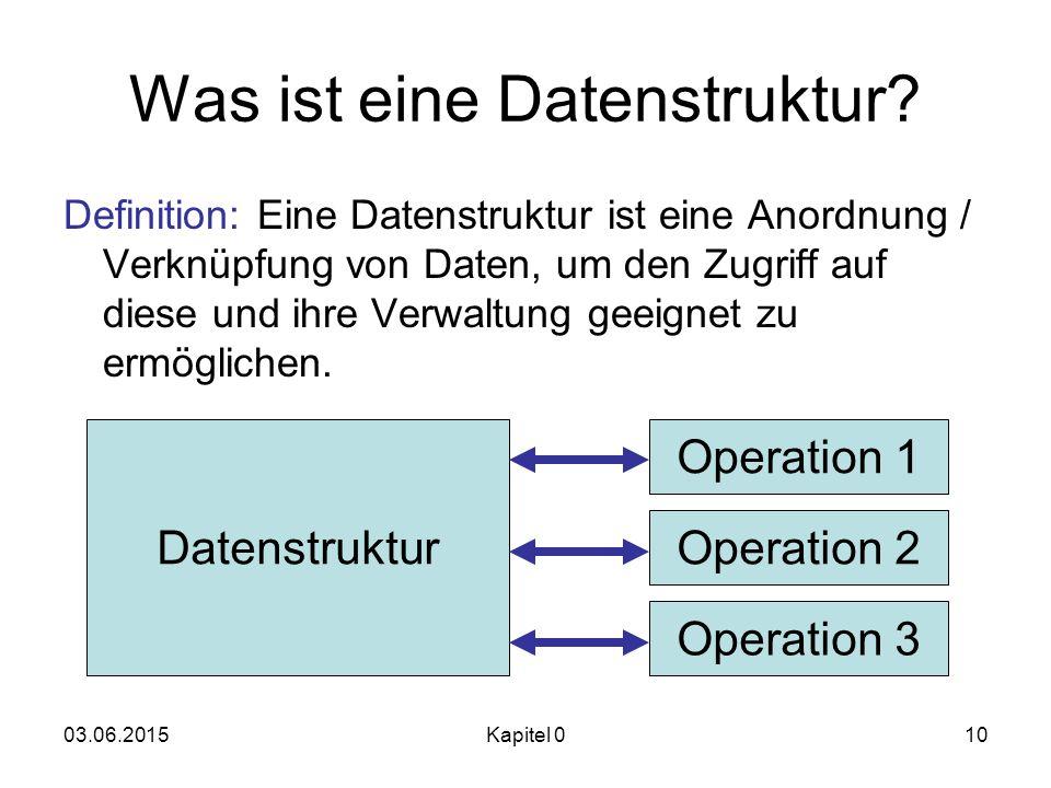 03.06.2015Kapitel 010 Was ist eine Datenstruktur? Definition: Eine Datenstruktur ist eine Anordnung / Verknüpfung von Daten, um den Zugriff auf diese