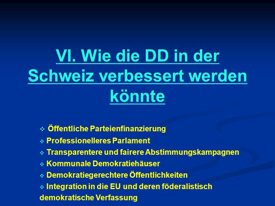 VI. Wie die DD in der Schweiz verbessert werden könnte   Öffentliche Parteienfinanzierung  Professionelleres Parlament  Transparentere und fairere