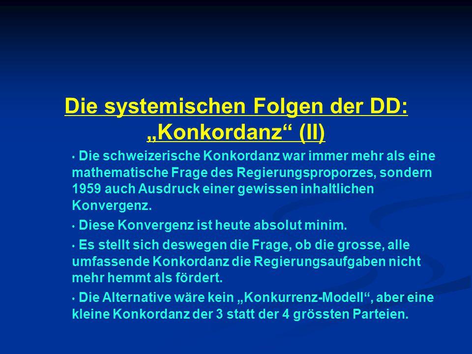 """Die systemischen Folgen der DD: """"Konkordanz (II) Die schweizerische Konkordanz war immer mehr als eine mathematische Frage des Regierungsproporzes, sondern 1959 auch Ausdruck einer gewissen inhaltlichen Konvergenz."""