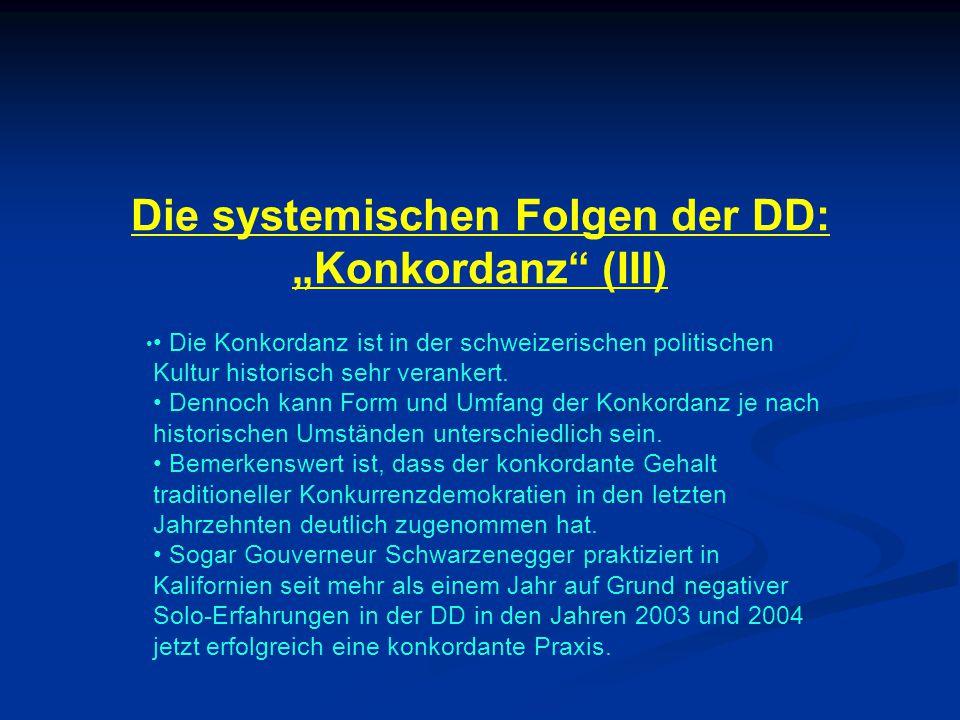"""Die systemischen Folgen der DD: """"Konkordanz (III) Die Konkordanz ist in der schweizerischen politischen Kultur historisch sehr verankert."""
